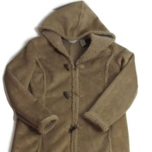 LL Bean faux Suede Sherpa Fleece Jacket Size XL